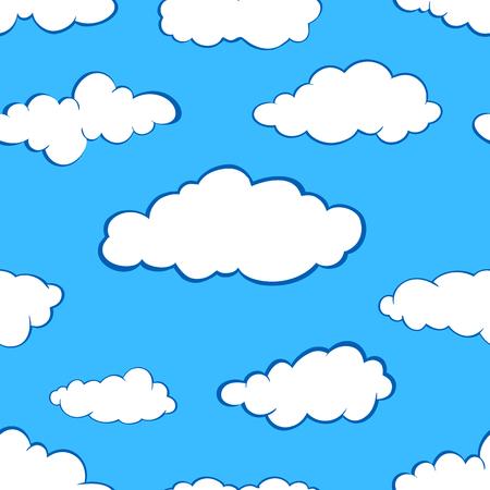 Stylized white clouds set. Seamless pattern on blue sky background. Illustration