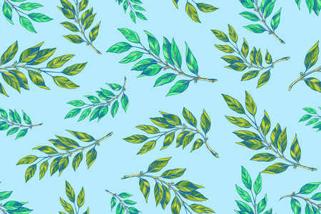 Laurel twigs seamless patern on blue background isolated. wallpaper, background, fabric and interior design usage.