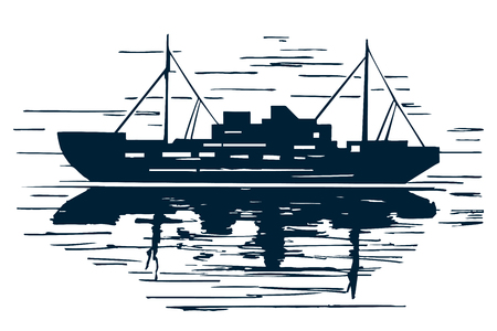 Sea ship with reflection. Hand-drawn sketch sketch, vector