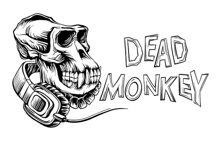 Dead monkey skull with headphones and inscription, isolated on white background vector