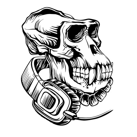 Hand drawn vector pencil illustration Skull of a gorilla with headphones, isolated on white background