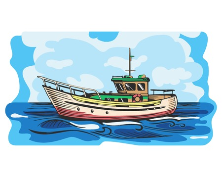 Motor yacht vector, small vessel for tourism and recreation, stylized illustration Çizim