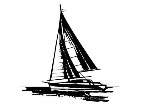 Hand drawn sailing yachts silhouettes