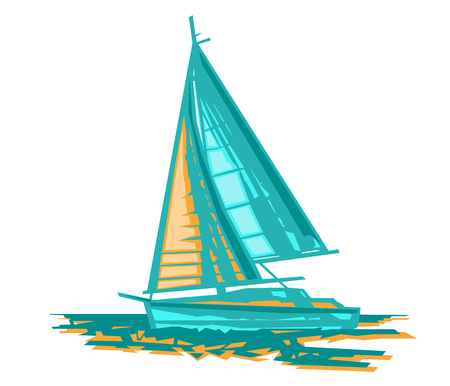 Sailboat stylized vector. Ocean yacht. Vector design art. Concept graphic element.