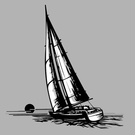 Sailboat on a grey background