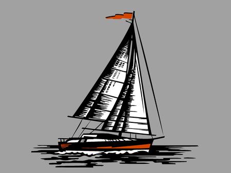 Sailing boat on a grey background Çizim