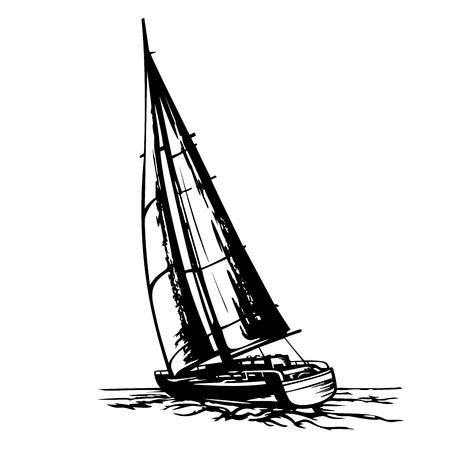 sailing yacht stylized vector Illustration