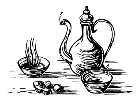 Oriental antique tea set. Teapot, cups bowls, sugar lumps. Imitation of engraving. Scratch board style imitation. Hand drawn sketch image.