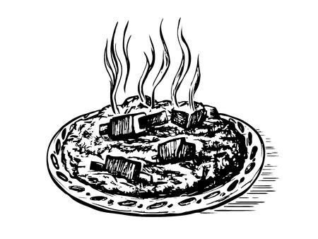 Doodle sketch pilaf oriental cuisine. Hand drawn engraving imitation. Scratch board style vector illustration  Çizim