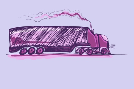 Childrens drawings car. Truck with a long closed body for various long-distance transport.