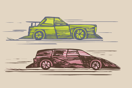 Two cars. Sports cars, competitions, speed races. Childrens drawing in color.