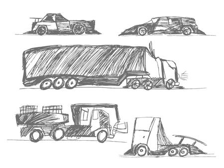 childrens drawings cars Foto de archivo - 121553345