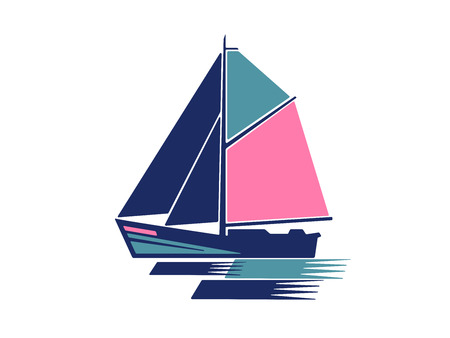 Sailing boat logo vector Çizim