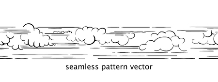 Clouds in the sky. Vector seamless border in sketch style. Black and white hand drawn image.