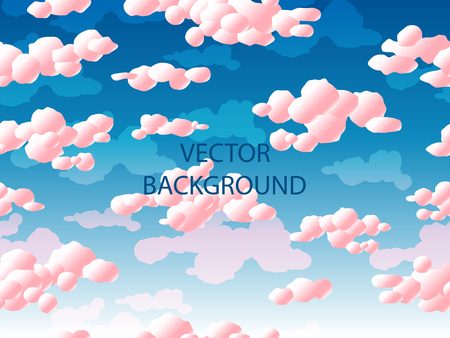 Pink clouds and gulls, seamless pattern. Gradient vector illustration.