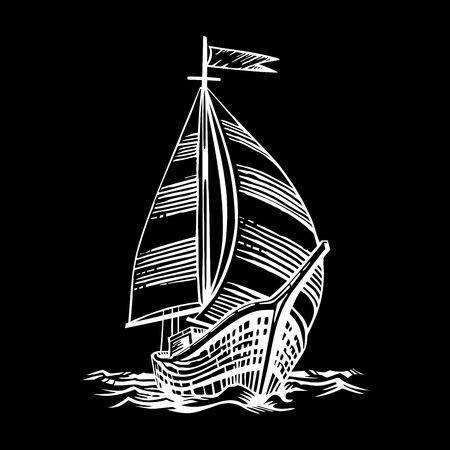 Sailing ship floating on the waves. Hand drawn engraving scratchboard style imitation. Isolated on a black background. Illustration