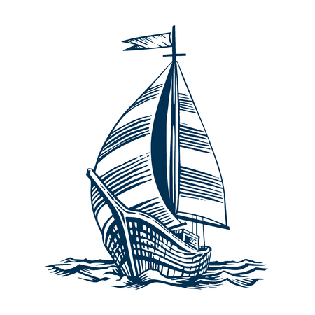 sailboat; vessel; sea; boat; nautical; illustration; travel; water; sail; ship; vintage; engraving; drawing; ocean; wave; marine; transport; navigation; engraved; transportation; white; old; vector; graphic; antique; drawn; ancient; wind; isolated; wooden; adventure; cruise; mast; retro; black; voyage; hand; yacht; historical; history; background; historic; flag; yachting; navy; line; sketch; brig; engrave; schooneron the waves. Hand drawn engraving scratchboard style imitation. Isolated on a white background. Illustration