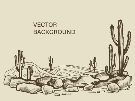 Cacti in the Arizona desert sketch