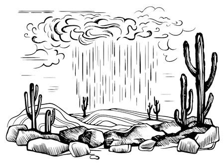 Arizona desert rain storm vector sketch. The long-awaited cloud rain in the hot desert. Cactus. Cacti in stones engraving illustration.