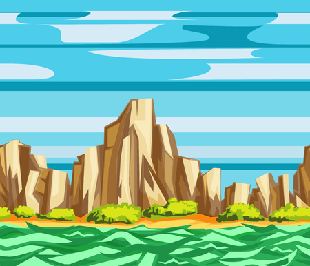 Seamless landscape pattern with mountains, cliffs, sea and clouds. Cartoon flat border vector.  Çizim