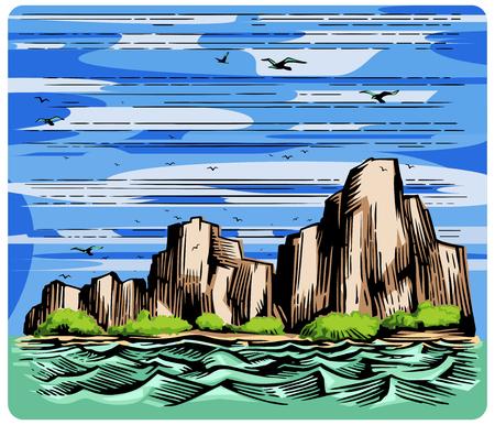 Seashore rocks and seagulls landscape hand drawn sketch image color vector. Imitation of engraving scratch board