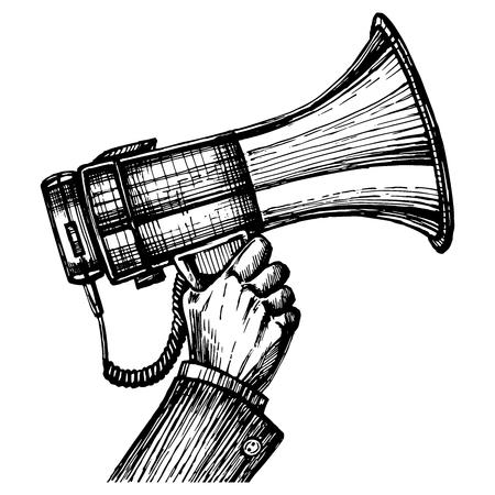 Megaphone horn in hand, sketch