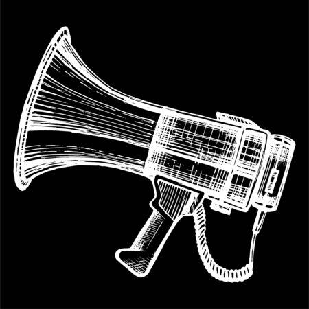 Megaphone, bullhorn sketch. Çizim