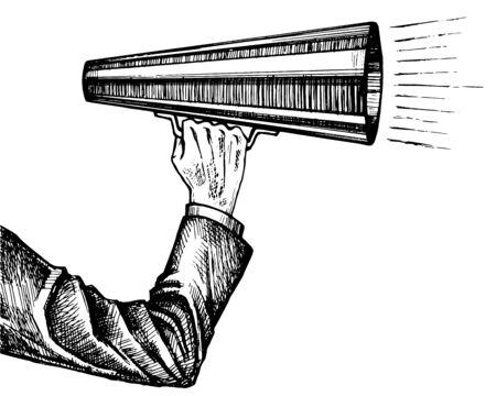 Megaphone in hand sketch Çizim