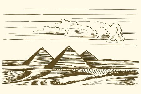 Egyptian Pyramids Vector. Pyramids in Cairo Egypt vintage engraved illustration, hand drawn Çizim