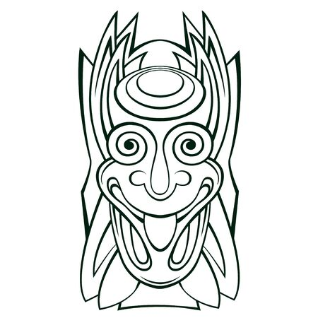 Tiki idol mask Line Art 일러스트