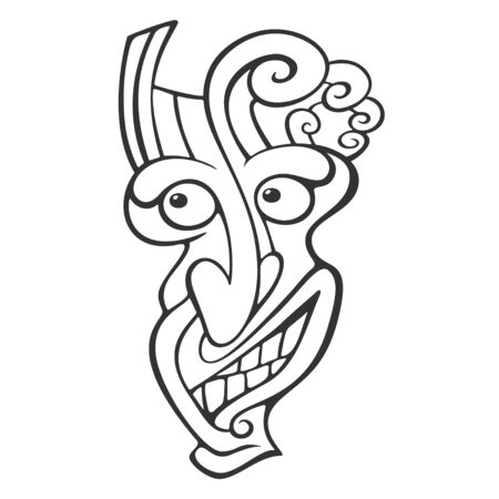 Tiki Head Line Art