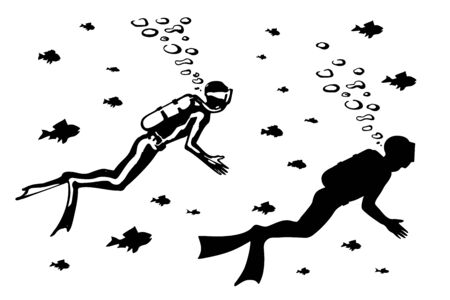 Silhouette of scuba diver swimming