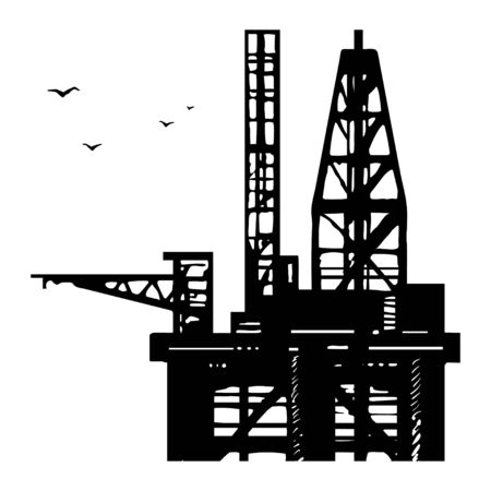 Platform drilling offshore oil. 일러스트