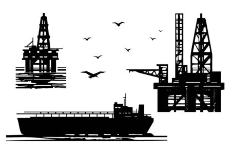 Extraction of petroleum products in the sea 일러스트