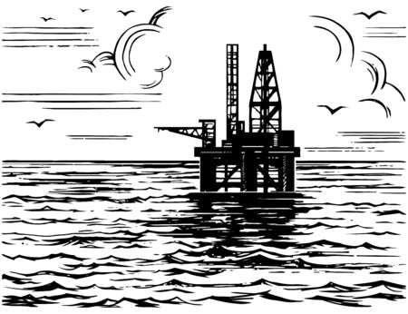 Oil platform in the sea sketch