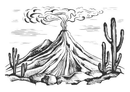 bosquejo, paisaje, erupción volcánica