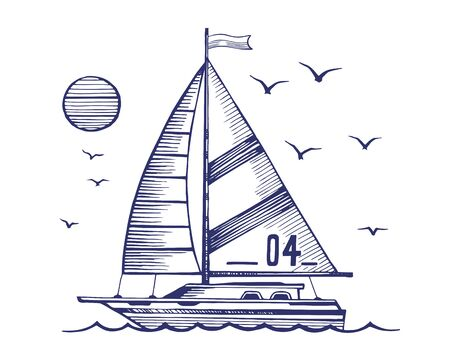 Sailing yacht in the sea vector sketch