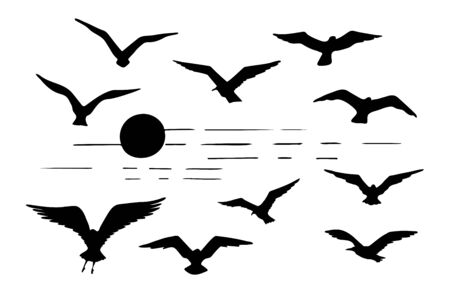 Set of seagulls silhouettes black flying birds