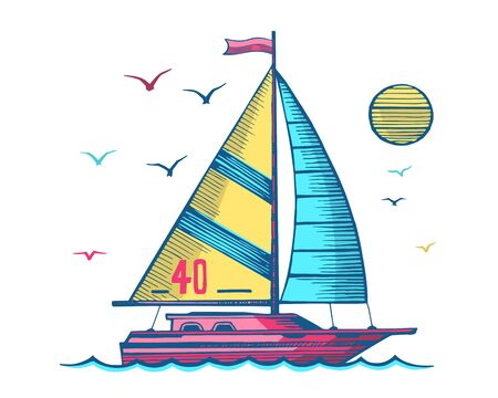 Sailing yacht in the sea colored sketc Stok Fotoğraf - 132052941