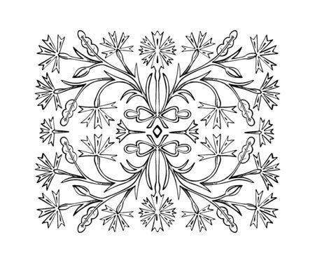The flower ornament pattern is drawn by hand