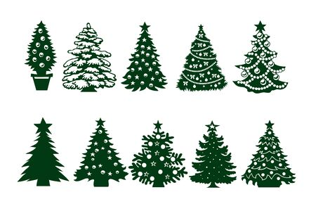 Christmas tree template set. Green silhouette, different shapes of construction, decoration balls and stars. Vector Isolated on White Background, New Year s Day Elements 일러스트