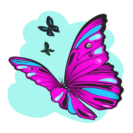 Purple butterfly against the sky vector hand- drawn illustration 일러스트
