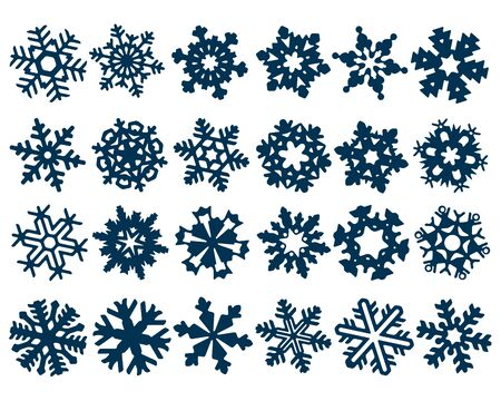 Set of vectorized abstract round-shaped Snowflakes dark blue