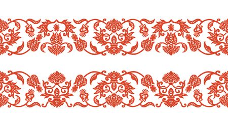 Seamless floral pattern, ornament ribbon set