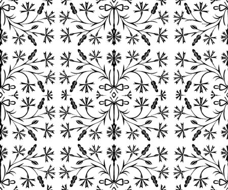 The black flower seamless pattern is drawn by hand