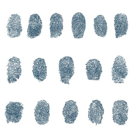Set of fingerprints, vector illustration isolated on white background