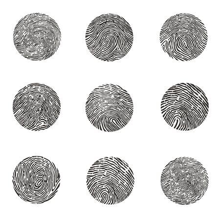 fingerprints round shaped black set Ilustracja