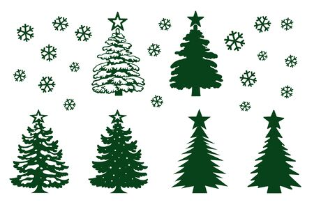 Christmas tree template set. Green silhouette, different shapes of construction, decoration  stars. Vector Isolated on White Background, New Year s Day Elements
