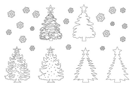 Christmas tree template set. Line silhouette, different shapes of construction, decoration stars. Vector Isolated on White Background, New Year s Day Elements 일러스트