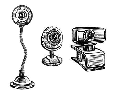 Webcam raster illustration set